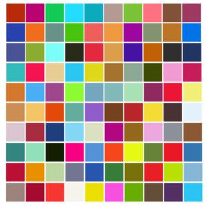 De här 100 färgerna har jag fotograferat. Variationen kunde ha varit större.
